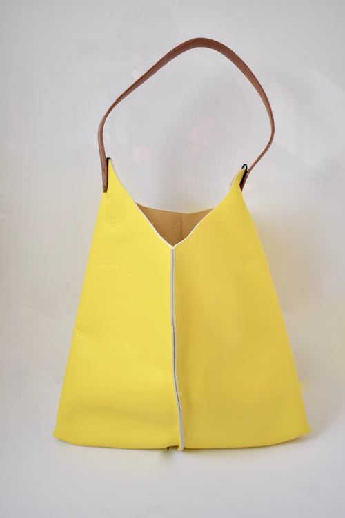 Scabby Robot Lemon Yellow Leather Wedge Bag