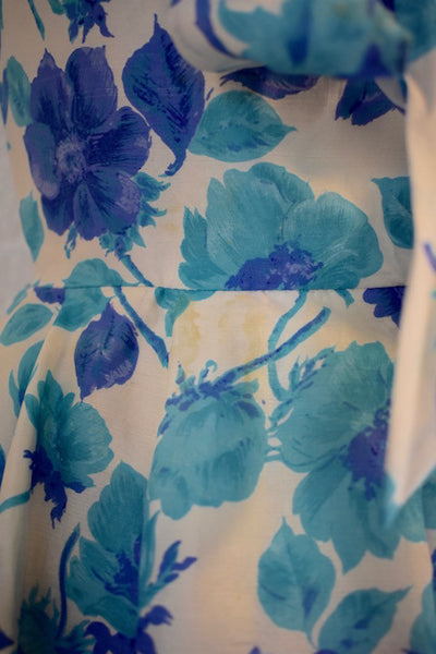 Vintage  1950s Jane Andre Blue Floral Cocktail Dress - Vintage World Rocks - 6