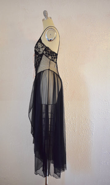 Vintage 1960s Black Lace Sears Night gown - Vintage World Rocks - 6