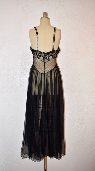 Vintage 1960s Black Lace Sears Night gown - Vintage World Rocks - 7