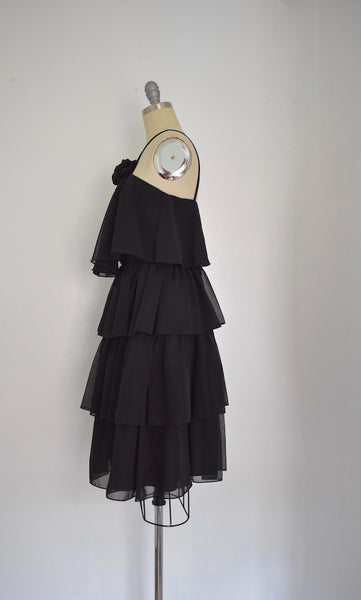 Vintage 1970s Shubette of London Black Halter Dress