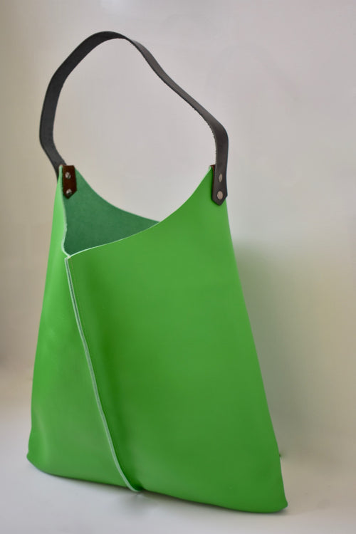 Scabby Robot Fresh Lime Leather Wedge Bag