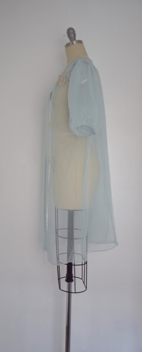 Vintage 1970s Light Blue Lingerie Nightgown Top