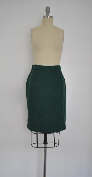 St John Collection Green Knit Skirt Suit
