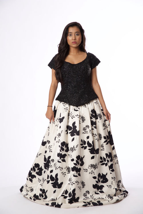 For Rental or Purchase Vintage Inspired Zola Keller Black Beaded White Floral Evening Gown - Vintage World Rocks - 2