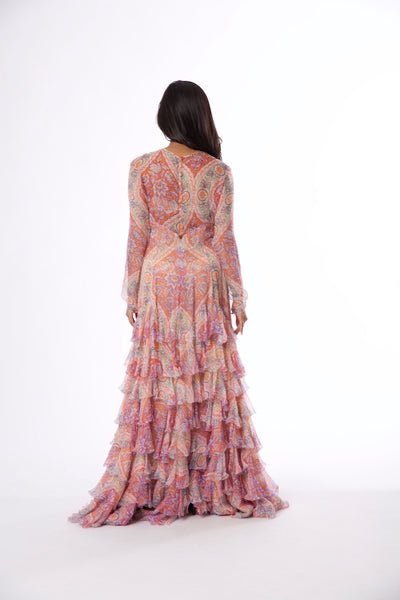 Rental or Purchase Multicolored Floral Motif Sheer Long Sleeve Gown - Vintage World Rocks - 5