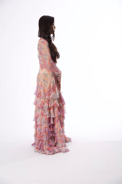 Rental or Purchase Multicolored Floral Motif Sheer Long Sleeve Gown - Vintage World Rocks - 4