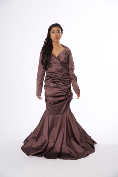 For Rental or Purchase Modern Talbot Runhof Mauve Floor Length Silk Gown - Vintage World Rocks - 2