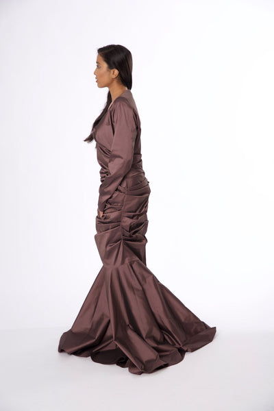 For Rental or Purchase Modern Talbot Runhof Mauve Floor Length Silk Gown - Vintage World Rocks - 3