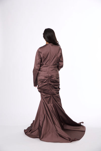 For Rental or Purchase Modern Talbot Runhof Mauve Floor Length Silk Gown - Vintage World Rocks - 4