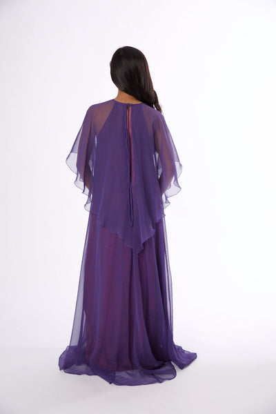 Vintage 1970s Jean Varon Plum Chiffon Evening Gown - Vintage World Rocks - 5