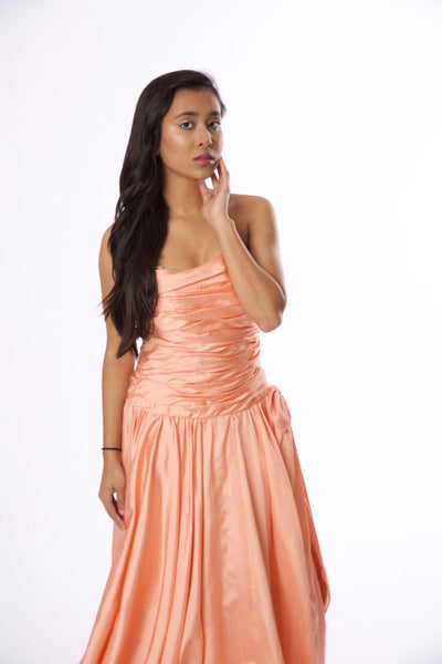 Vintage Tracy Mills Peach Strapless Dress - Vintage World Rocks - 2