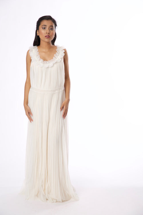 Vintage 1960s-1970s White Chiffon Gown - Vintage World Rocks - 2