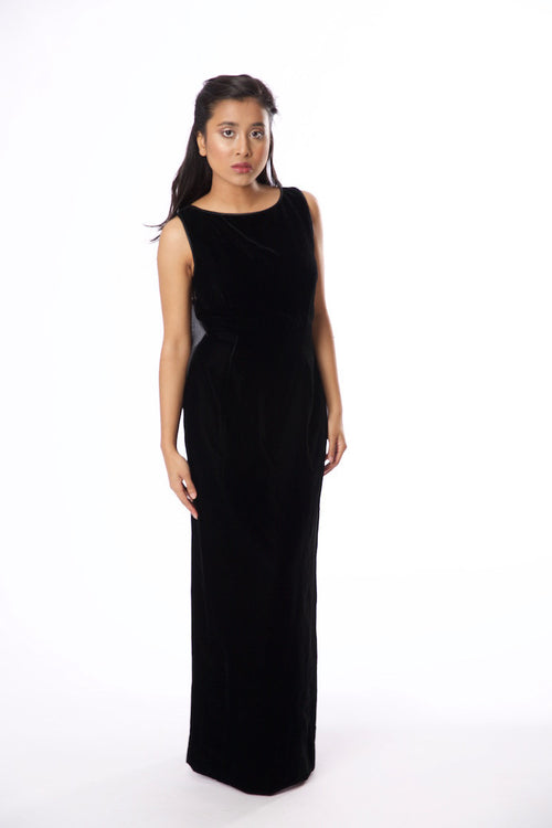 Vintage Inspired Morton Myles for Saks Fifth Ave Black Velvet Sleeveless Gown - Vintage World Rocks - 2