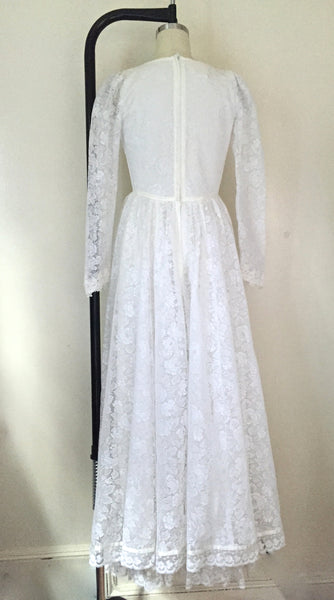 Vintage 1960s Gunne Sax White Lace Wedding Party Maxi Dress - Vintage World Rocks - 5