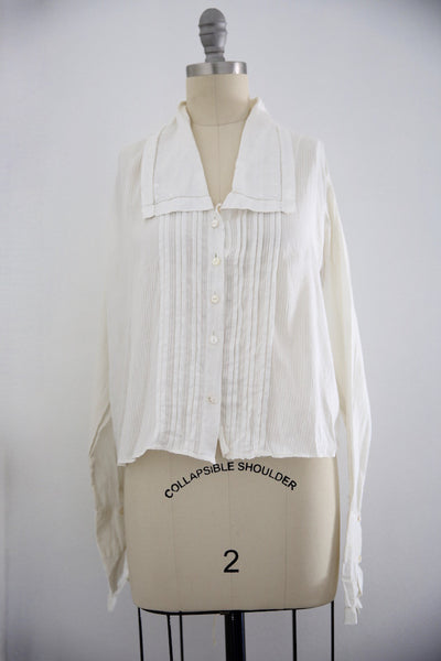Edwardian Antique Cotton Long Sleeve Blouse Blouse