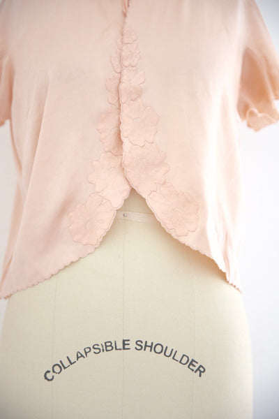 Vintage 1950s Silk Pink Lingerie Top - Vintage World Rocks - 3