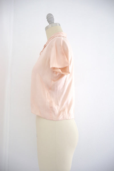 Vintage 1950s Silk Pink Lingerie Top - Vintage World Rocks - 4