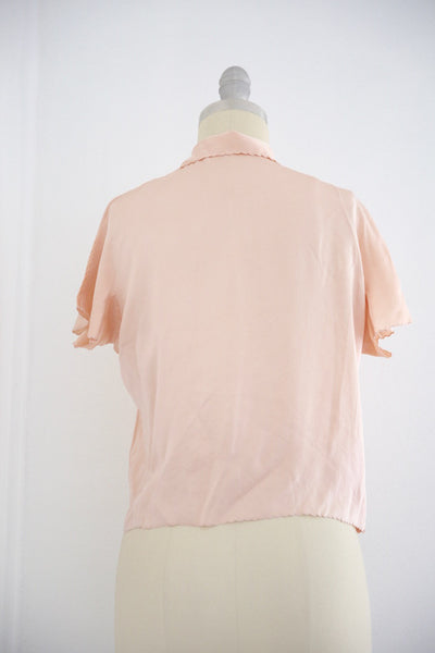 Vintage 1950s Silk Pink Lingerie Top - Vintage World Rocks - 5