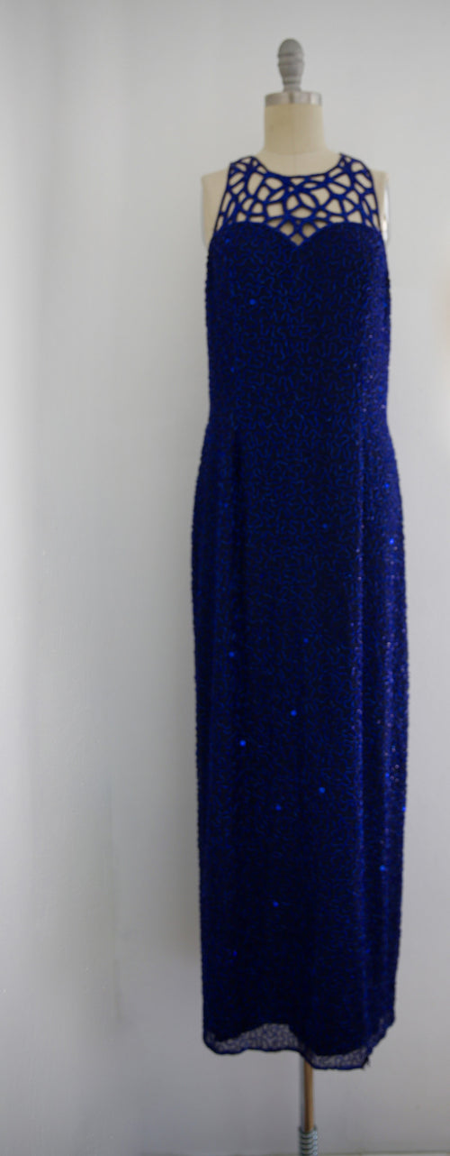 Vintage 1980s Blue Silk Sequin Gown - Vintage World Rocks - 2