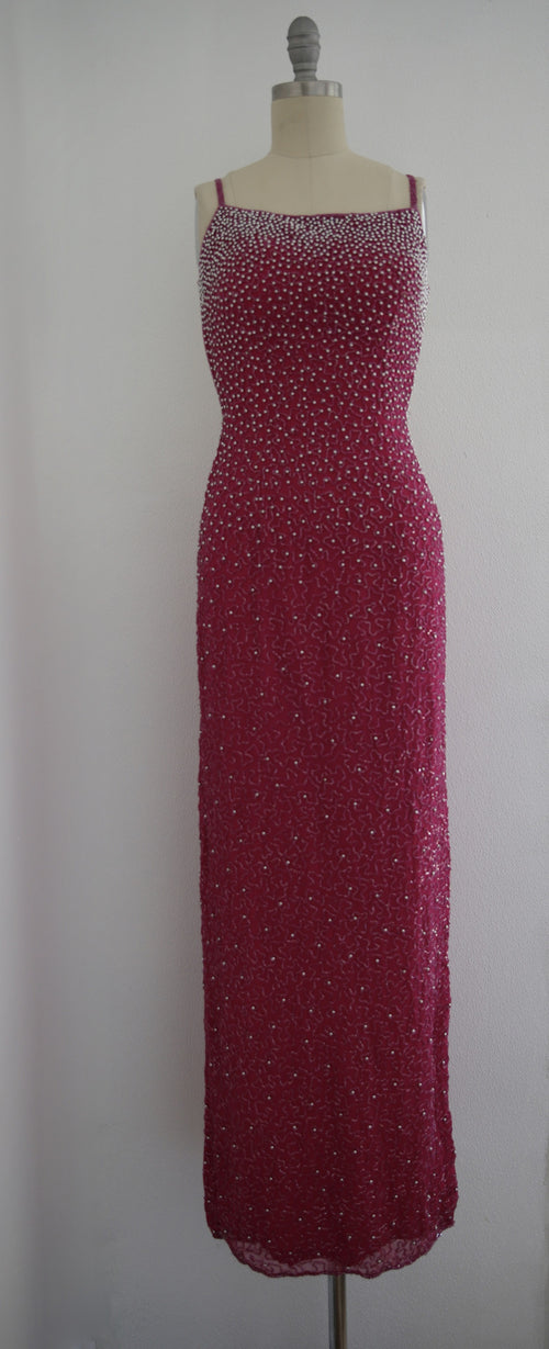 Vintage Fuchsia Backless Sequin Beaded Gown - Vintage World Rocks - 2