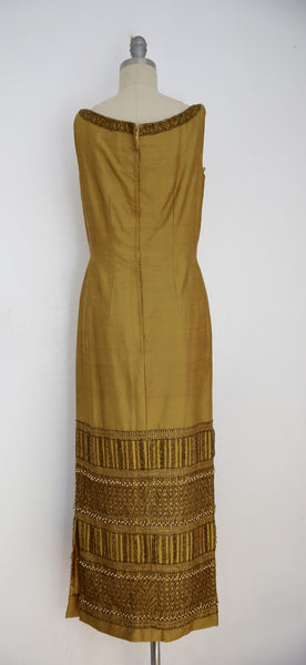 Vintage 1960s-1970s Bruce Arnold LTD Thai Silk Brown Beaded Sleeveless Dress - Vintage World Rocks - 5