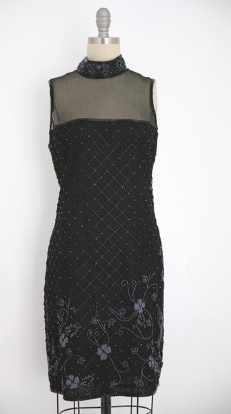 Vintage 1980s Stenay Silk Black Beaded Dress - Vintage World Rocks - 2