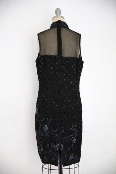 Vintage 1980s Stenay Silk Black Beaded Dress - Vintage World Rocks - 4