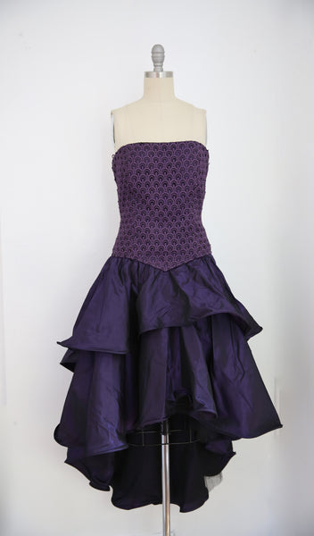 For Rental or Purchase Vintage 1980s Andrea Odicini Couture Purple Taffeta Evening Dress - Vintage World Rocks - 2