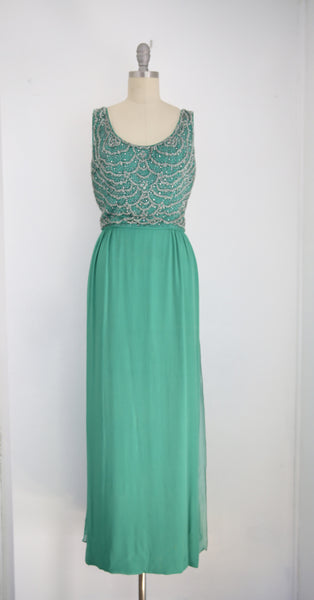 Vintage John Stevens/Highland Park Kelly Green Sleeveless Scoop Neck Gown - Vintage World Rocks - 2