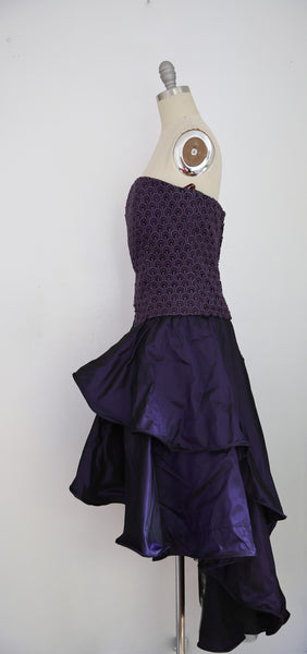 For Rental or Purchase Vintage 1980s Andrea Odicini Couture Purple Taffeta Evening Dress - Vintage World Rocks - 3