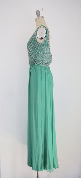 Vintage John Stevens/Highland Park Kelly Green Sleeveless Scoop Neck Gown - Vintage World Rocks - 3