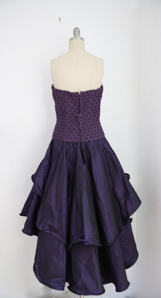 For Rental or Purchase Vintage 1980s Andrea Odicini Couture Purple Taffeta Evening Dress - Vintage World Rocks - 4