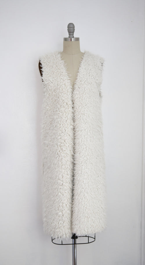Vintage Ivory Faux Shaggy Fur Reversible Open Vest - Vintage World Rocks - 2