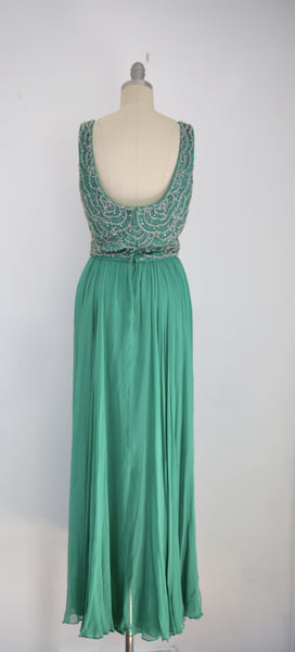 Vintage John Stevens/Highland Park Kelly Green Sleeveless Scoop Neck Gown - Vintage World Rocks - 4