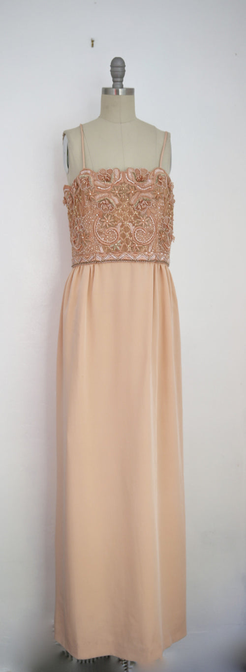 Vintage 1980s Beaded Peach Gown - Vintage World Rocks - 2