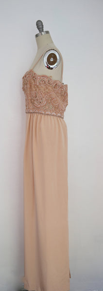 Vintage 1980s Beaded Peach Gown - Vintage World Rocks - 3