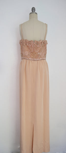 Vintage 1980s Beaded Peach Gown - Vintage World Rocks - 4