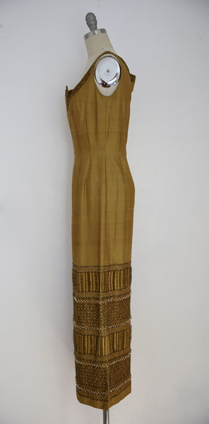 Vintage 1960s-1970s Bruce Arnold LTD Thai Silk Brown Beaded Sleeveless Dress - Vintage World Rocks - 4