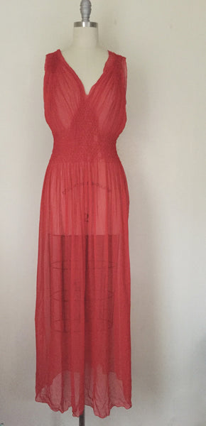 Vintage Red Chiffon Gown/Negligee AS IS - Vintage World Rocks - 2