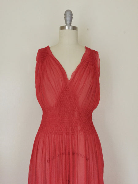 Vintage Red Chiffon Gown/Negligee AS IS - Vintage World Rocks - 3