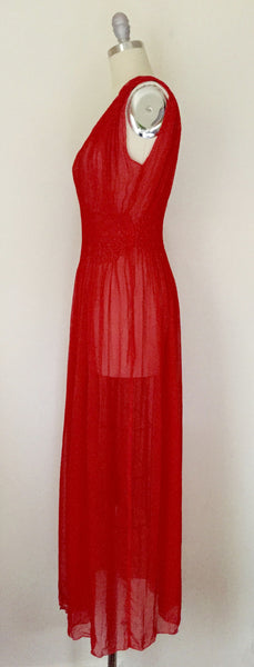 Vintage Red Chiffon Gown/Negligee AS IS - Vintage World Rocks - 4