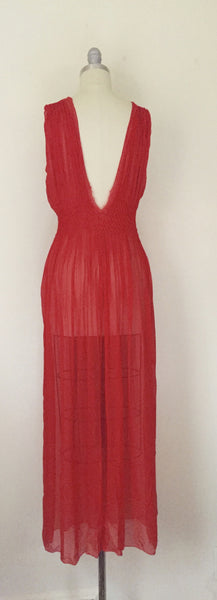 Vintage Red Chiffon Gown/Negligee AS IS - Vintage World Rocks - 5