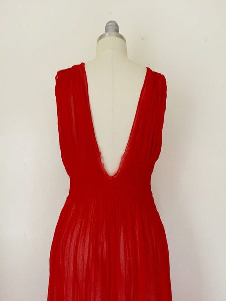 Vintage Red Chiffon Gown/Negligee AS IS - Vintage World Rocks - 6