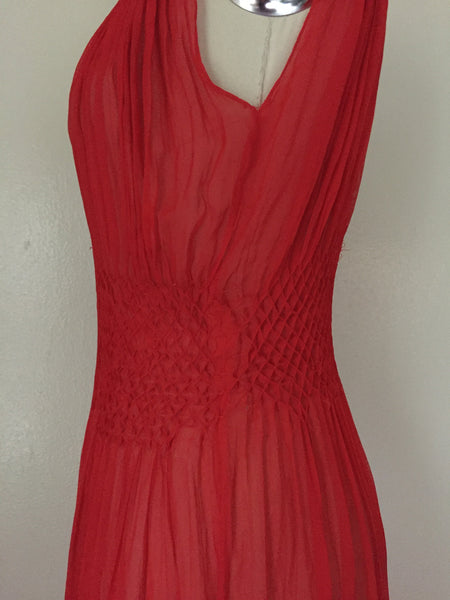 Vintage Red Chiffon Gown/Negligee AS IS - Vintage World Rocks - 8