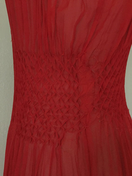 Vintage Red Chiffon Gown/Negligee AS IS - Vintage World Rocks - 9