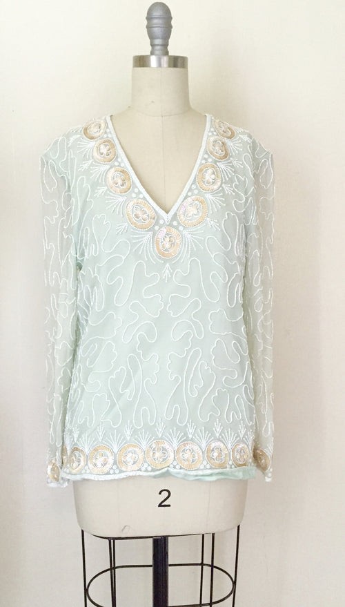 1980s Silk Chiffon Seaglass Blouse - Vintage World Rocks - 2
