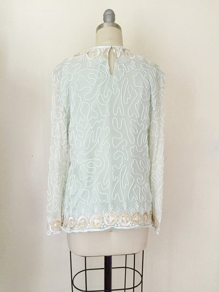 1980s Silk Chiffon Seaglass Blouse - Vintage World Rocks - 4