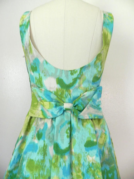 Vintage 1950s-1960s Green/ Blue Abstract Dress - Vintage World Rocks - 6