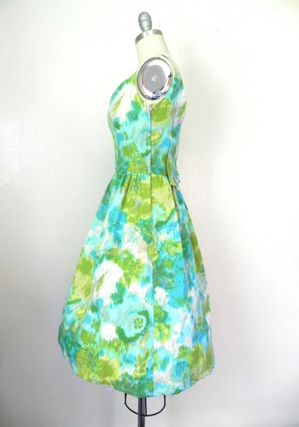 Vintage 1950s-1960s Green/ Blue Abstract Dress - Vintage World Rocks - 4